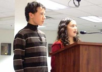 Two Milford students address the Milford City Council.